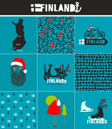 Set of labels and patterns for Finland. Cool vector set.