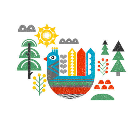 finnish: Cute print with bird in the forest. Vintage vector illustration in scandinavian style.