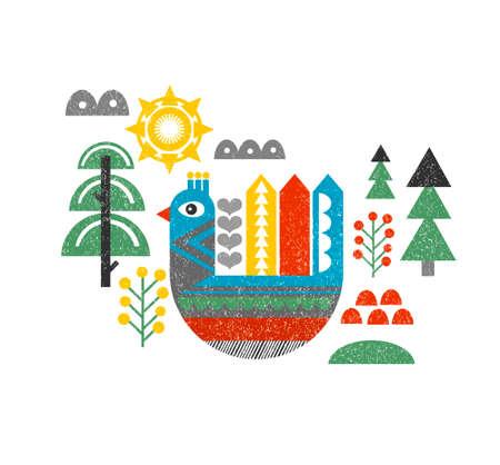 Leuke druk met vogel in het bos. Vintage vector illustratie in Scandinavische stijl.
