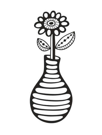 black and white image: Black and white image of flower and vase. Vector illustration for coloring.
