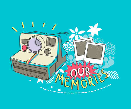 Old photo camera on the floral background. Vector artistic illustration.