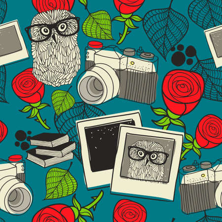 photos of pattern: Seamless pattern with smart owl in glasses and retro photos.