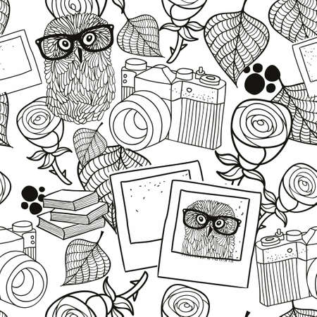 old photo: Black and white seamless pattern with vintage objects. Vector illustration of hipster style owl in glasses and old photo camera. Illustration