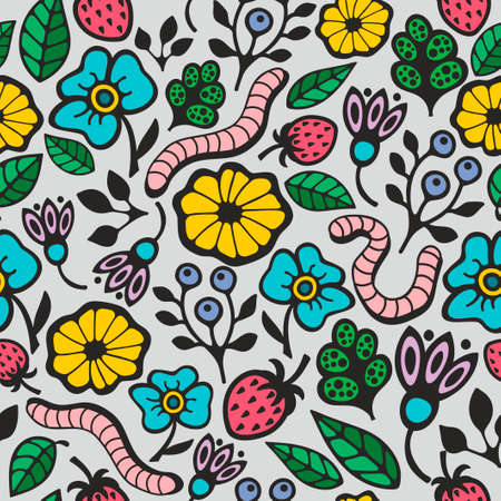 flora fauna: Colorful seamless background with flora and fauna in the garden. Vector pattern.