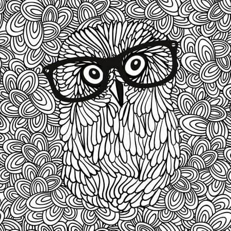antistress: Doodle pattern with black and white hipster owl image for coloring. Vector illustration. Illustration