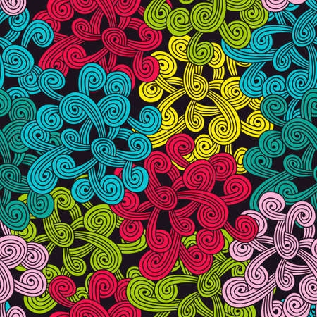 Colorful seamless pattern with abstract design elements. Vector illustration in doodle stile.