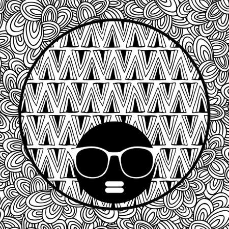 black hair girl: Doodle pattern with black skin woman in sunglasses for coloring. Vector illustration. Portrait of pretty afro girl with cool hair.