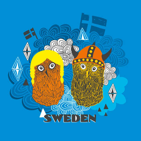 souvenir: Emblem of Sweden with cute vikings. Vector illustration of smart owls. Illustration