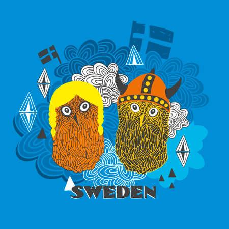 Emblem of Sweden with cute vikings. Vector illustration of smart owls. Illustration