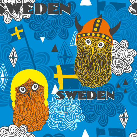 swedish: Seamless pattern with swedish theme. Cute owls and flags. Vector illustration. Illustration