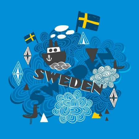 souvenir: Cool pattern with swedish symbols. Vector illustration. Illustration