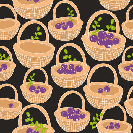 basket icon: Seamless pattern with forest berries. Vector background. Hand drawn baskets made of wood. Illustration