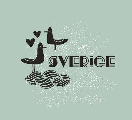 sverige: Swedish sign with sea birds. Vector illustration.