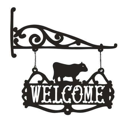 advertisment: Vintage sign with cow for outdoor advertisment. Vector illustration.