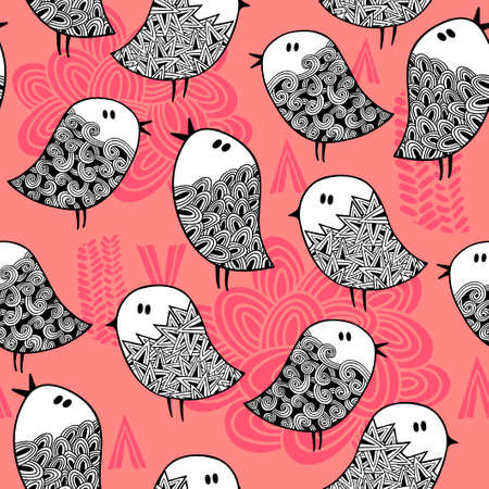 doodling: Creative seamless pattern with doodle birds. Vector illustration. Illustration