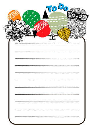 daily planner: Printable design of to do list with bright design elements and smart owl. Vector illustration. Illustration