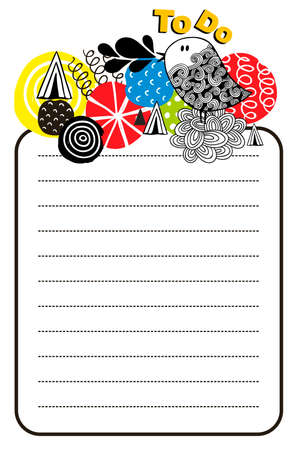 Printable design of to do list with bright design elements and doodle bird. Vector illustration.