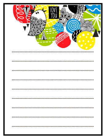diary: Printable design of to do list with bright design elements and cute bird. Vector illustration. Illustration