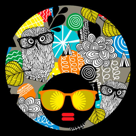 afro girl: Vector illustration with female portrait. Head of beautiful afro girl in sunglasses during summer time. Illustration