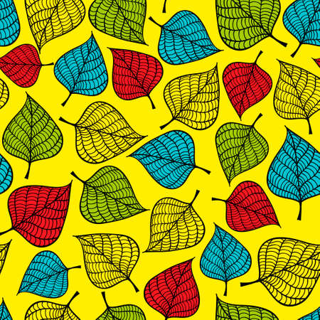 fig leaf: Colorful seamless pattern with autumn leaves. Vector background.