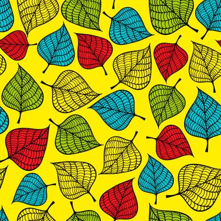 feuille de figuier: seamless pattern Colorful avec des feuilles d'automne. Vecteur de fond. Illustration