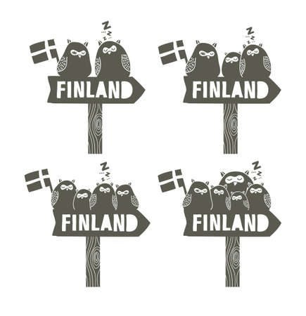 set going: Set of way signs. Going to Finland. Cute owls on the wooden arrow.