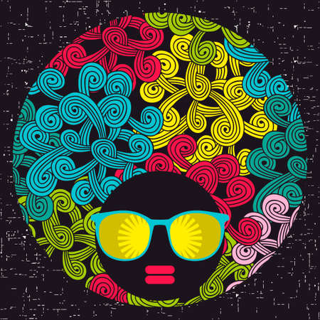 female girl: Vector illustration with female portrait. Head of beautiful afro girl in sunglasses during summer time. Illustration