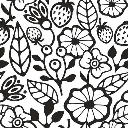 wallpaper floral: Black and white seamless pattern with plants and berries. Floral vector illustration for coloring.