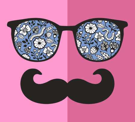 retro glasses: Abstract face of man in glasses. Vector image in retro style. Illustration