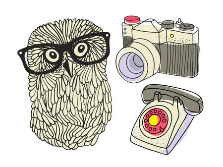 Set with hipster owl and equipment. Vector illustration. Illustration