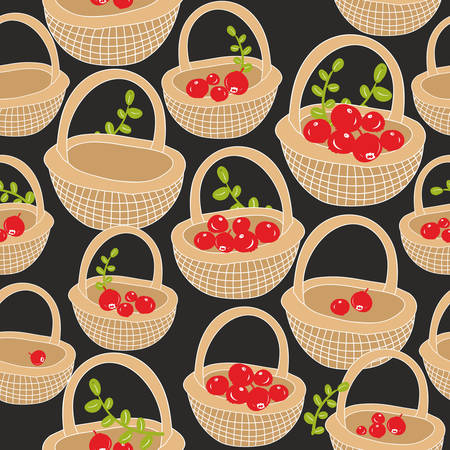 red berries: Seamless pattern with red forest berries. Vector background. Hand drawn baskets made of wood. Illustration