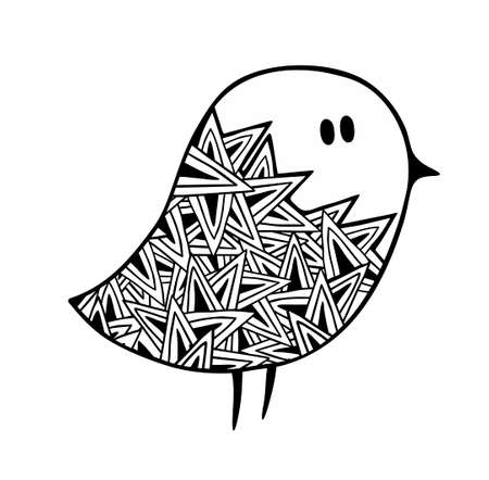 draw a sketch: hand draw stylized pigeon sketch for tattoo, vector illustration.
