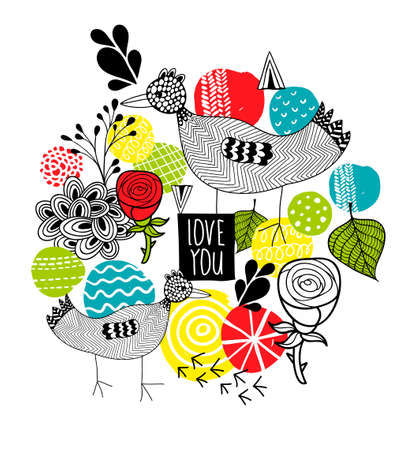 Creative print with birds and design elements. Vector pattern.