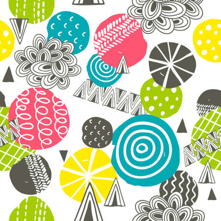 scandinavia: Seamless pattern with bright abstract shapes. Vector illustration. Illustration
