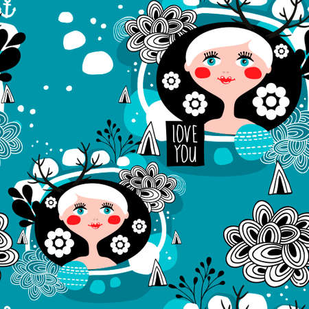 pretty eyes: White hair scandinavian girl seamless pattern. Pretty face with blue eyes background. Vector illustration.