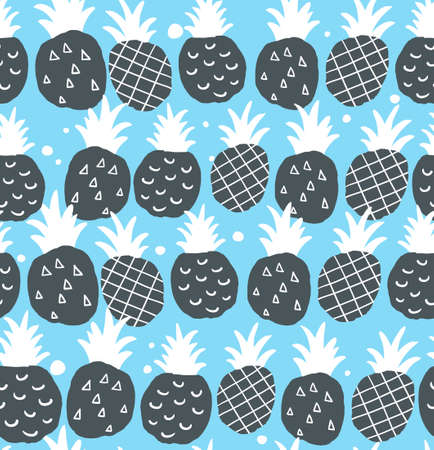 Seamless pattern with winter style pineapples. Vector blue background.