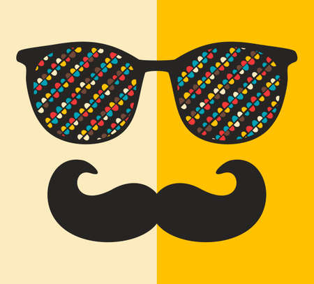 cool man: Cool hipster face print of man with sunglasses.  illustration of vintage person in glasses with pattern reflection in it.