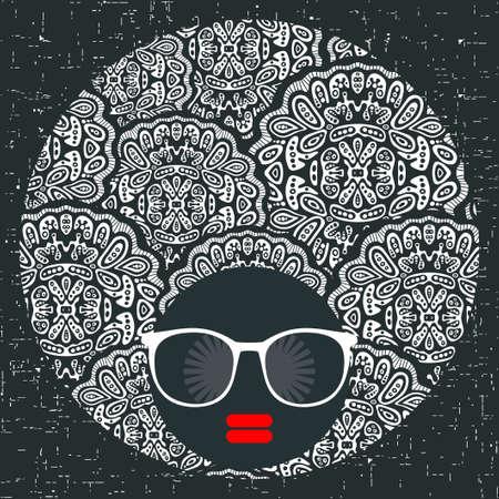 Noir tête jeune et jolie fille avec une robe de cheveux créatif. illustration de la femme afro. print Colorful. Visage abstrait.