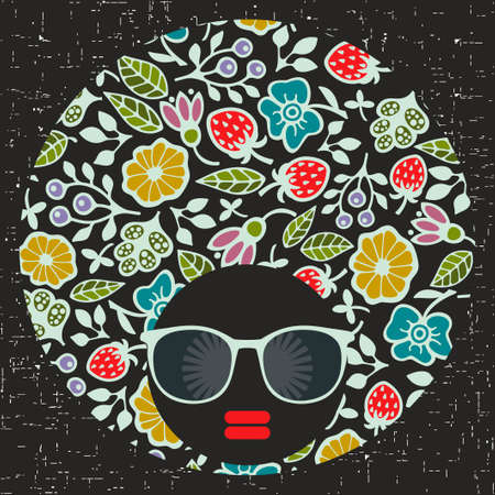black hair girl: Black head young and pretty girl with creative hair dress. illustration of afro woman. Colorful print. Abstract face.