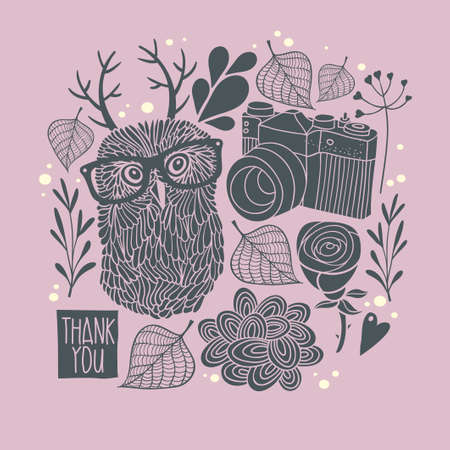 flower heart: Owl in eyeglasses with horns. Vector card cover. Creative print for decoration on the wall.
