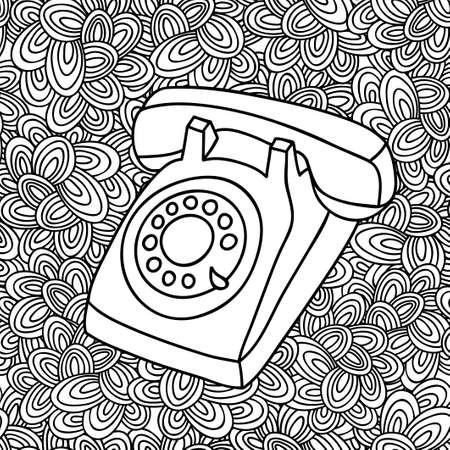 ringer: Hand drawing old phone. Vintage telephone illustration in vector on the artistic background.