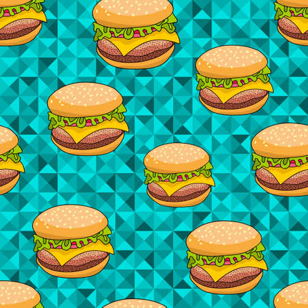 cheesy: Seamless pattern with doodle hamburger on the artistic background. Endless burger illustration in vector.