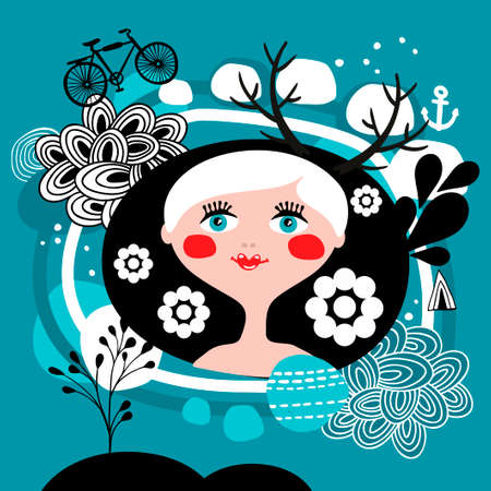 scandinavia: Creative portrait of blond girl from Scandinavia. Beautiful vector print or card cover.