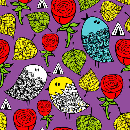 flor caricatura: Colorful seamless pattern with birds and design elements. Vector endless background. Vectores