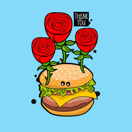 Crazy hamburger portrait with red roses. Vector illustration for greeting card cover. Illustration
