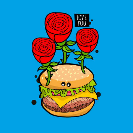 Romantic hamburger portrait with red roses. Vector illustration for greeting card cover.