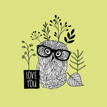 herbalist: Herbal print with romantic owl in glasses. Vector doodle print.