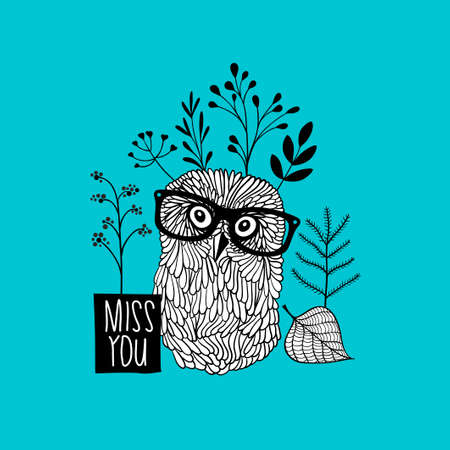 scandinavia: Print for the postcard with cute doodle owl. Vector black and white illustration.