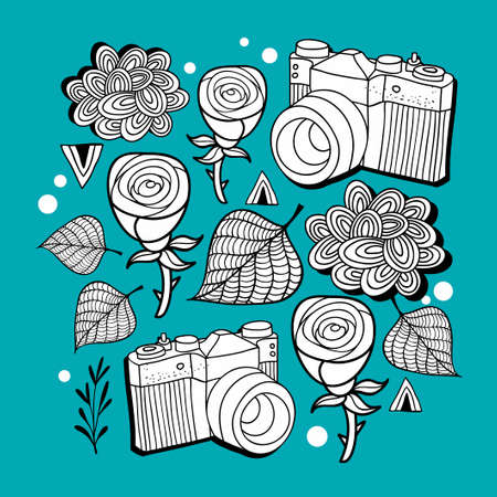 scandinavia: Doodle print with photo cameras and roses. Vector pattern. Illustration