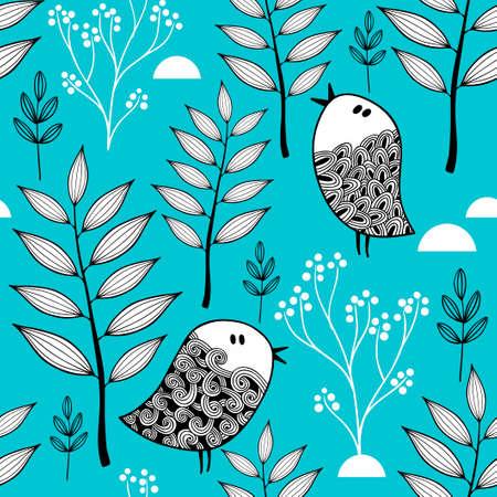 森のベクトル図の冬。冷たい背景と落書き鳥のシームレスなパターン。  イラスト・ベクター素材